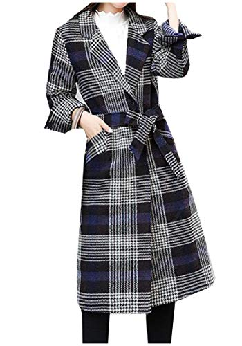 (YUNY Women Baggy Casual Wool Blend Lapel Fashion Plaid Duffle Coat S)