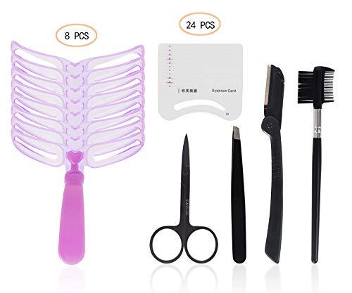 TWY Eyebrow Kit Brush Stencil Scissors Tweezers Eyebrows Grooming Shaping Templates Eyebrow Drawing Guide Card DIY Makeup Tools (37 pieces)