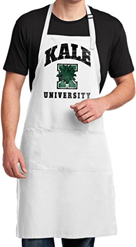 Mens Yoga Kale University Lights Full Length Apron with Pockets, White (Vegetarian Merchandise compare prices)