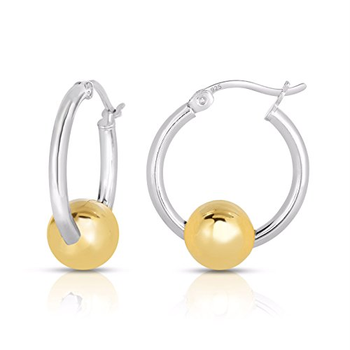 (Small Ocean side Sterling Silver Earrings Platinum Plated with 14k Gold Ball - 19 mm)
