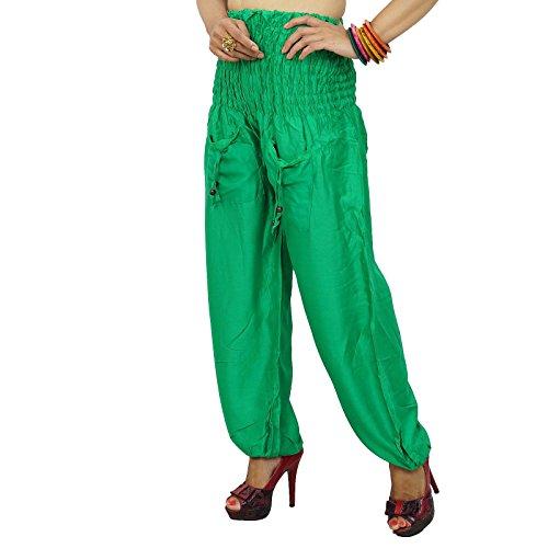 Ropa de las mujeres Pantalones Harem elástico de la cintura de pantalón de verano pantalones ocasionales de la India Vert