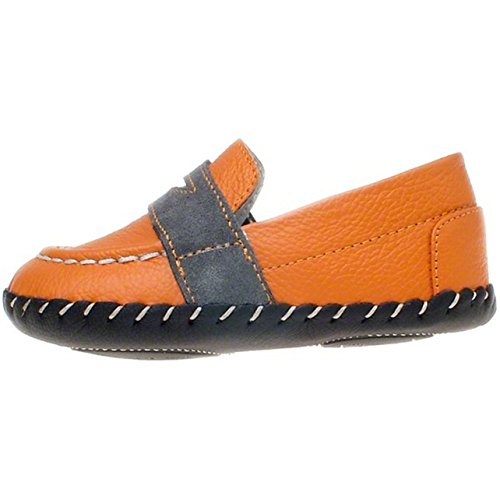 Little Blue Lamb – Niños Infant Toddler piel suave suela zapatos de bebé – color naranja con borde gris – con calzador