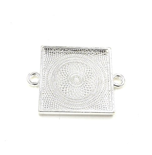 (50 Deannassupplyshop Square Connector Pendant Trays - Silver Color - 1 inch - Pendant Blanks Cameo Bezel Settings Photo Jewelry - Custom Jewelry Making)