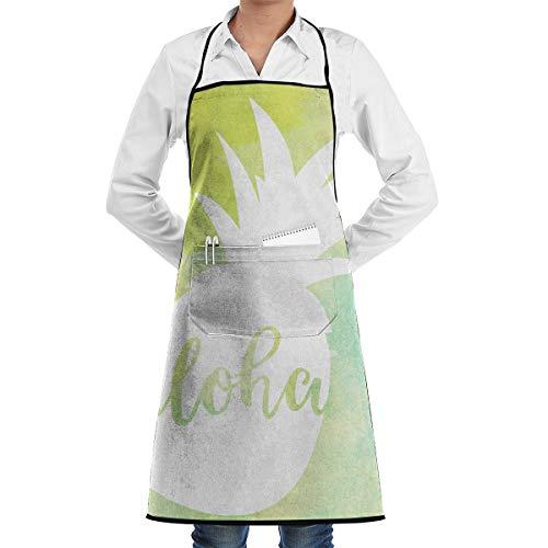 (Yangkun 100% Polyester Adjustable Hemmed Apron Pineapple Aloha Unisex Bib Apron, Professional Kitchen Chef, Belt Pocket)