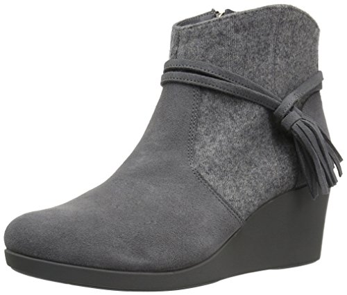 Crocs Women's Leigh Suede Mix Wedge Bootie Ankle, Slate Grey