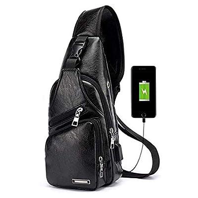 Men Sling Bag Leather Unbalance Chest Shoulder Crossbody Bag Casual Daypacks