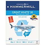 Hammermill Great White Recycled Copy Paper 3-Hole Punched 8-1/2 X 11/5000 Sheets