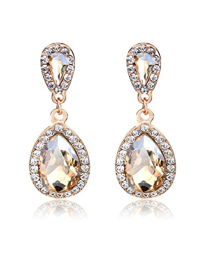 Young & Forever Women's Paradiso Champagne Sparkle & Shine Teardrop & Cubic Zircon Earrings by Young & Forever