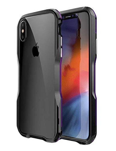 家庭ラップ期待してiPhone Xs Max バンパー ケース OURJOY iphonexs max アルミ メタル バンパー ストラップホール付き 航空宇宙 メタル フレーム EVA緩衝綿付き 耐衝撃 アイフォン Xs Max バンパー (iPhone Xs Max バンパー ブラック+パープル)