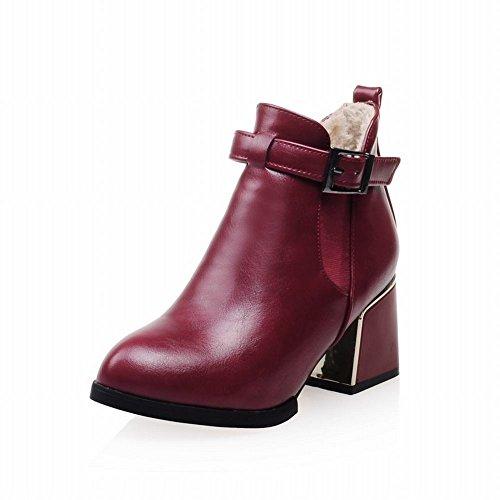 Cinturino Con Fibbia Moda Donna Latasa Tacco Medio Alto Alla Caviglia, Stivali Chelsea, Stivali Jodhpur Rossi