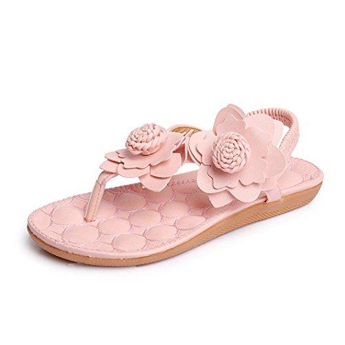 Sandalias para Mujer, RETUROM Flores de las mujeres hermosas zapatos de las sandalias del ocio de Bohemia Rosa