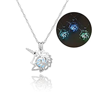 Glow in The Dark Necklace Steampunk Hollow Pendant with Chain for Women