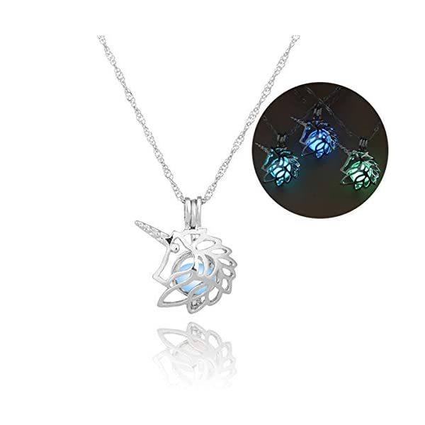 Glow in The Dark Necklace Steampunk Hollow Pendant with Chain for Women 3