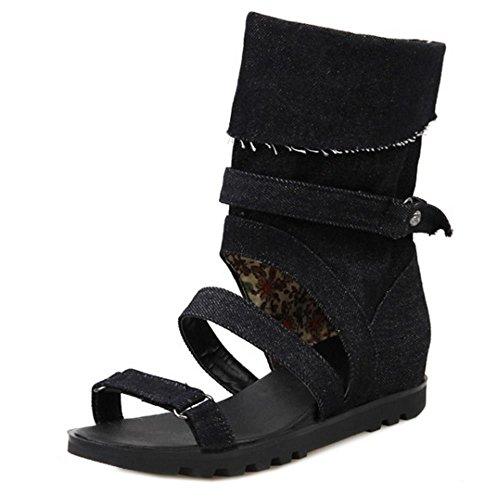 COOLCEPT Mujer Moda Punta Abierta Denim Tacon De Cuna Sandalias Stylish Verano Boots Negro