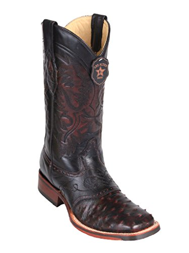 Men's Wide Square Toe with Saddle Black Cherry Genuine Leather Ostrich Skin Western Boots -