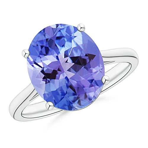 December Birthstone - Classic Prong Set Solitaire Oval Tanzanite Cocktail Ring for Women in Platinum (12x10mm (Oval Tanzanite Platinum Ring)