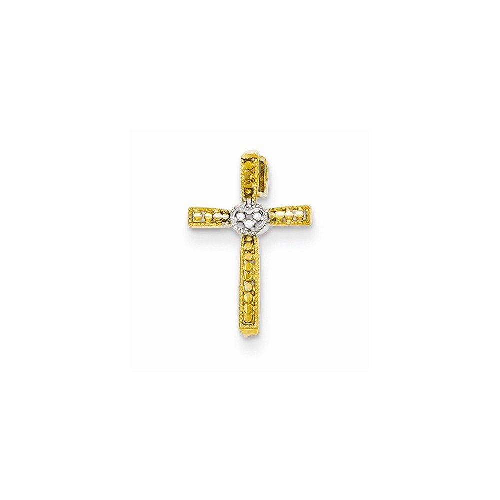 14k /& Rhodium Dia-Cut Cross Pendant Best Quality Free Gift Box