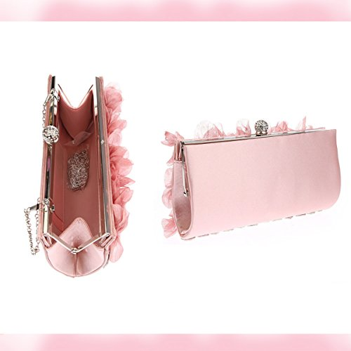 Women Flower for Design Evening Prom Party Apricot Bag Light Pink Bags Clutch Chiffon Wedding Flada Purse for Bridesmaid Perfect xqYI0pwz
