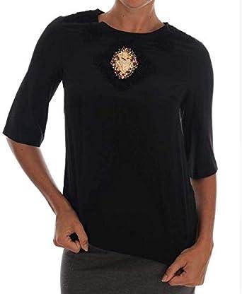 Dolce & Gabbana - Blusa de Encaje con corazón Sagrado, Color Negro - Rojo - 68|XX-Small: Amazon.es: Ropa y accesorios