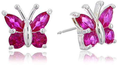 (Sterling Silver Created Ruby Butterfly Stud Earrings)