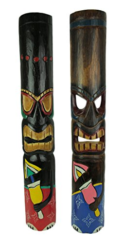 Zeckos Set of 2 Hand Crafted Primitive Style Polynesian Tiki Masks 39 Inch