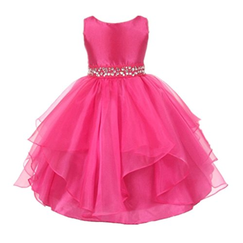 DreamHigh Wedding Flower Girls Crystals Waist Taffeta Pageant Dress Rose 10T -