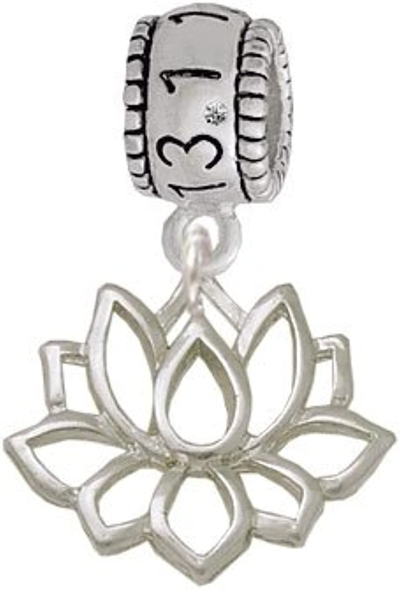 Delight Jewelry Lotus Outline Half Marathon 13.1 Run Charm Bead