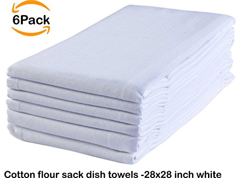 6 Pack Flour Sack Kitchen Towel Napkin, 100% Ring Spun Cotton, Pure White, Oversized, 28x28, Low Lint & Ultra Soft Fabric, Highly Absorbent, Multi Purpose & Versatile, Machine Washable