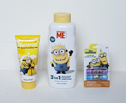 Despicable Me: Minion Made Shower Beauty Smell Great Set - Includes: Banana Scented Shampoo, 3 in 1 Apple Banana Body Wash Shampoo & Conditioner, and 2 Pack of Lip Balm