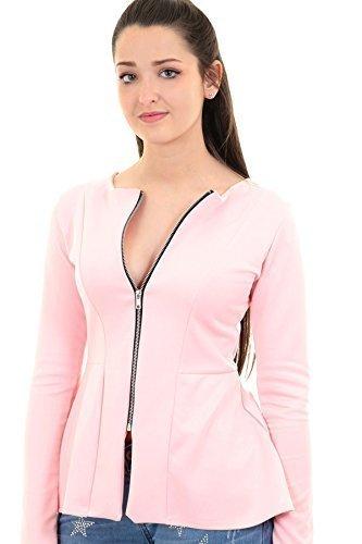 ZAFIRO Boutique Mujer Entallado Liso Con Cremallera Manga Larga Con Sobrefalda chaqueta americana - Rosa,