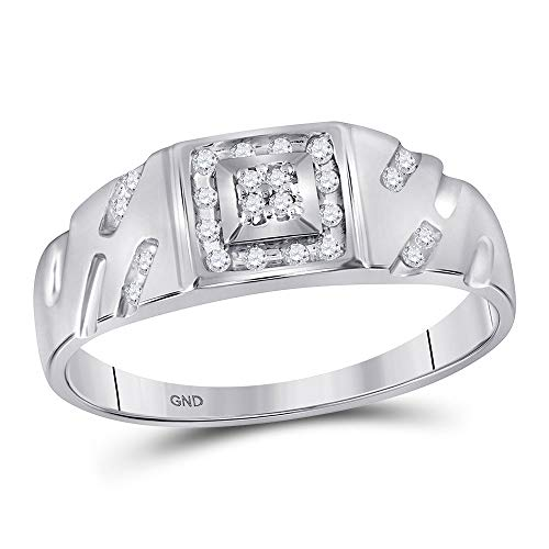 The Diamond Deal 10kt White Gold Mens Round Diamond Square Cluster Ring 1/8 Cttw ()