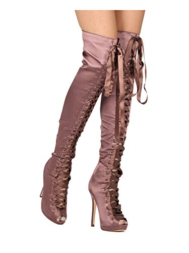(Alrisco Women Satin Thigh High Peep Toe Lace Up Stiletto Boot HE06 - Mocha Satin (Size: 8.0))