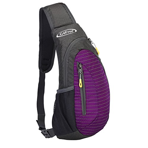 G4Free Sling Bag, Casual Cross Body Bag Outdoor Shoulder Backpack Chest Pack with One Adjustable Strap for Men Cycling Hiking(Purple)