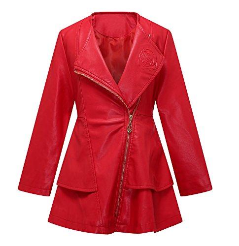 Girls Leather Coat Dress Outwear Windbreaker Kids Toddler Red 7T 8T Twins Dream