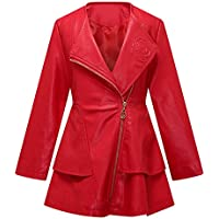 a3b6b4dbafa4 THE TWINS DREAM Girls Faux Leather Coat Toddler Jacket For Kids Dress Coat  With Emboss Rose