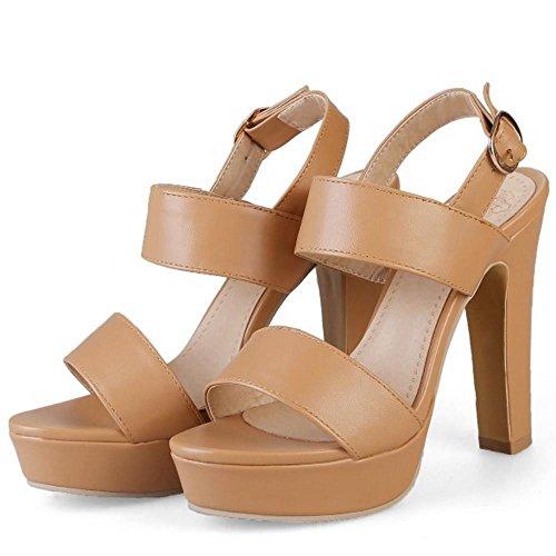RAZAMAZA Mujer Moda Correa Tacon Ancho Sandalias Plataforma Hebilla Zapatos Albaricoque Oscuro