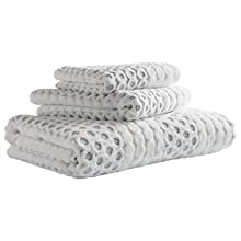 Stone & Beam Sculpted Dots with Woven Stripe Cotton Bath Towel Set, Set of 3, Grey