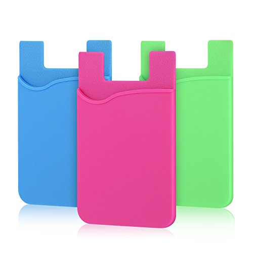 Cell Phone Wallet, Pofesun 3 Pack Cell Phone Stick on Wallet Card Holder Phone Pocket Adhesive Silicone Card Sleeve for iPhone, Samsung, Android and All Smartphones.(Blue, Pink, ()