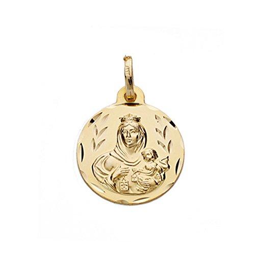 Médaille pendentif or 18k Virgen del Carmen 16mm. [AA0546GR] - personnalisable - ENREGISTREMENT inclus dans le prix