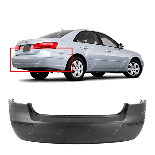 MBI AUTO - Primered, Rear Bumper Cover for 2009 2010 Hyundai Sonata 2.4L Single Exhaust 09 10, HY1100166 ()