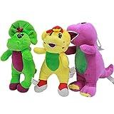 XuBa 3pcs/lot 17cm Cartoon Barney The Dinosaur Barney & Friends Plush Stuffed Toys Doll Soft Animals Toy for Kids Chidlren Xmas Gifts