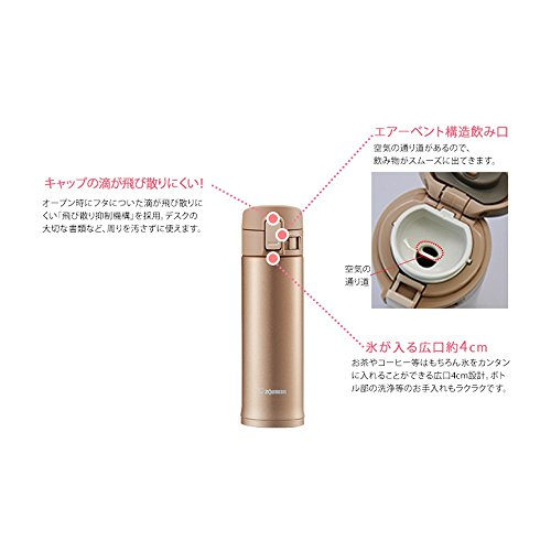 Zojirushi SM KC48 Stainless Mug raised Gold Commuter go Mugs