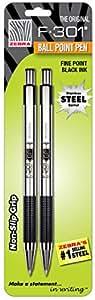 Zebra F-301 Stainless Steel Retractable Ballpoint Pen, 0.7mm, Black, 2 Pack (27112)