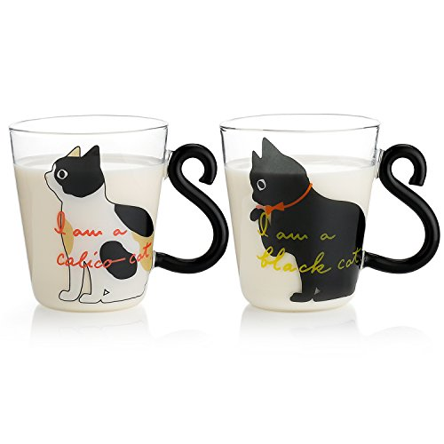 Teocera 10 oz Cat Coffee Mugs Set - Black & White Cute Glass Coffee Cups with Cat Tail Handle for Crazy Cat Lady and Lovers Gifts, Perfect for Morning Milk, - 2 Milk White Glass