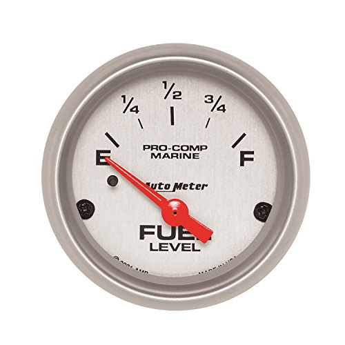 - AutoMeter 200760-33 Marine Electric Fuel Level Gauge; 2-1/16 in.; Silver Dial Face; Brushed Aluminum Bezel; Fluorescent Red Pointer; White Incandescent Lighting; Air Core; 240 Ohm Empty /33 Ohm Full;