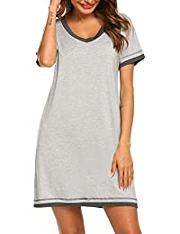 ba696be84c Sleepwear Women s V Neck Nightshirt Cotton Casual Sleepwear Short Sleeve  Nightgown S-XXL