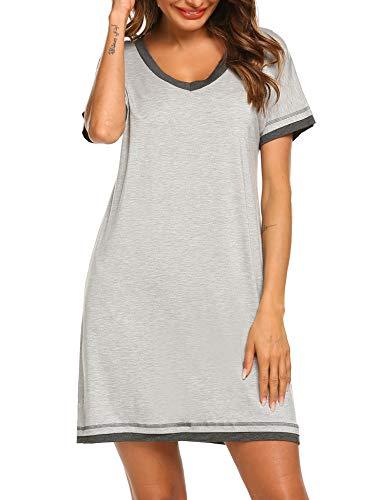 (Ekouaer Pajama Dress Women's Short Sleeve Nightgown Scoop Neck Sleepwear Nightwear (L Grey,M))