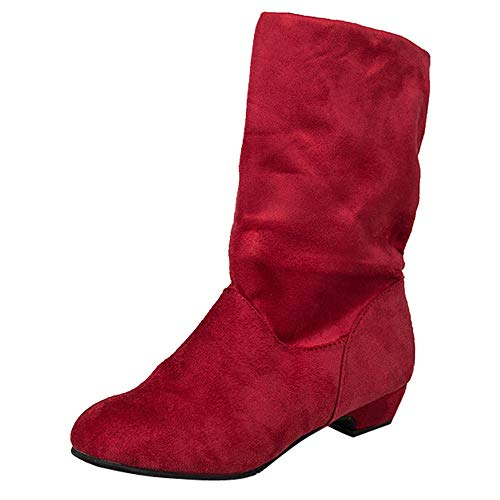 Goldweather Women Mid Calf Boots Ladies Solid Suede