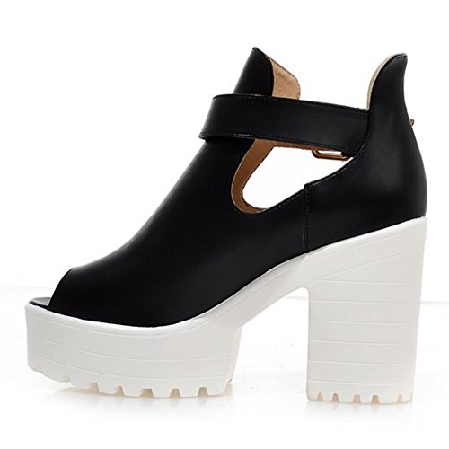 Ankle Moda Court Donna Coolcept Heel Shoes Scarpe Summer Wrap Toe Nero Peep Block qTAwU