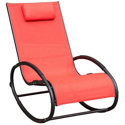 Cheap Sundale Outdoor Patio Aluminum Zero Gravity Chair Orbital Rocking Lounge Chair with Pillow Wave Rocker, Capacity 250 Pounds,Red